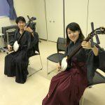 男女カップル着物と袴でペアで三味線体験